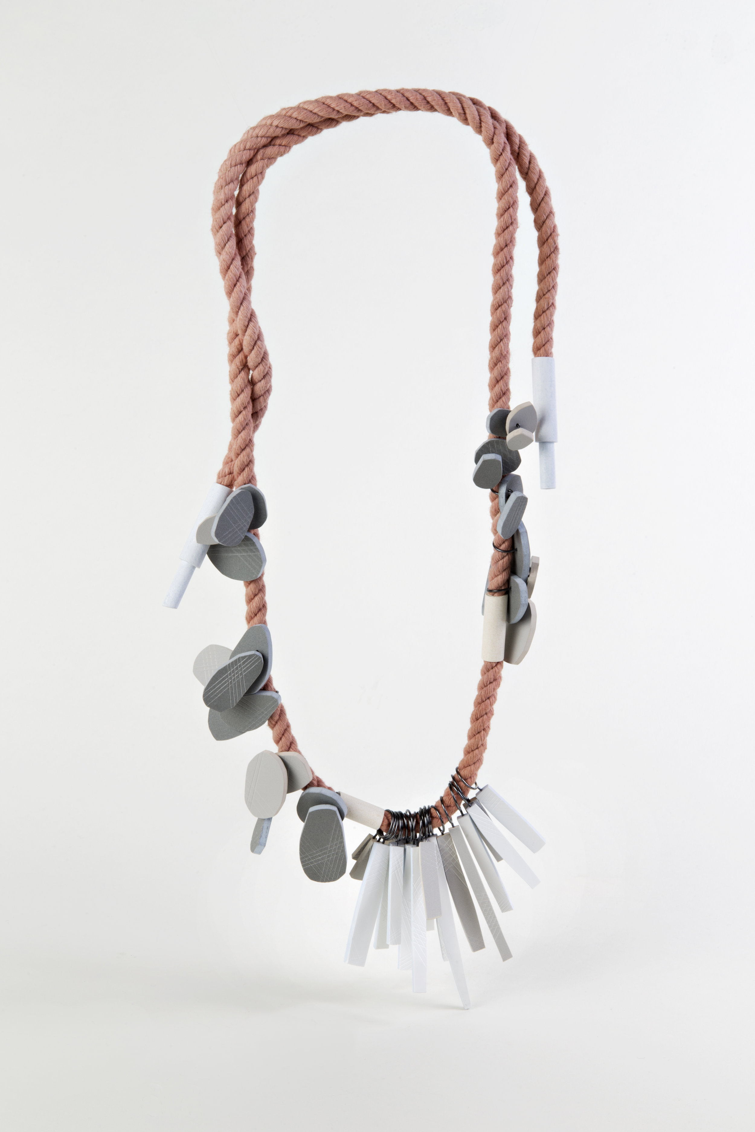 Clustered Nuggets and Straws  , PVC, silver, rope