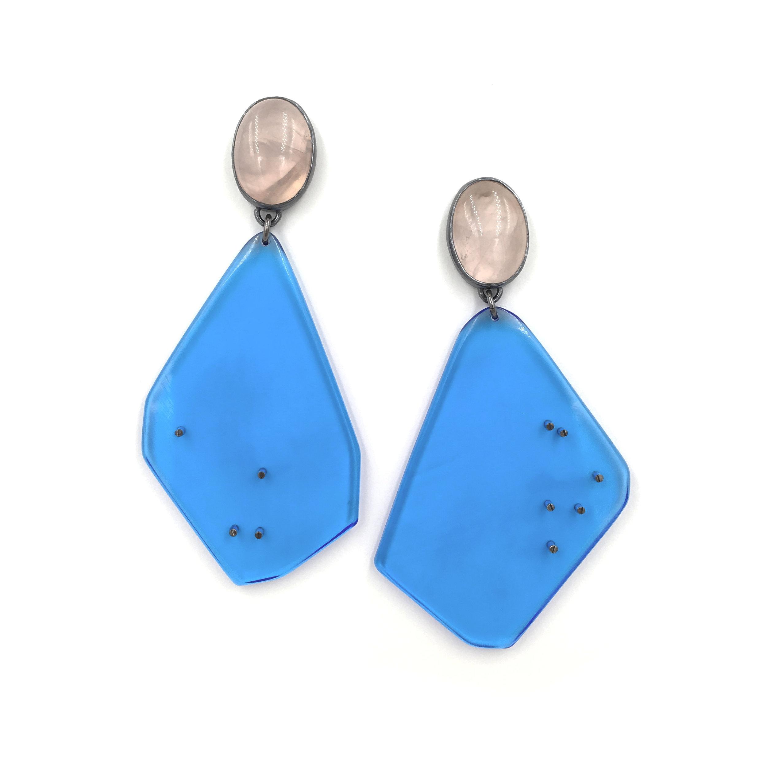 Rose Quartz Blue Drops