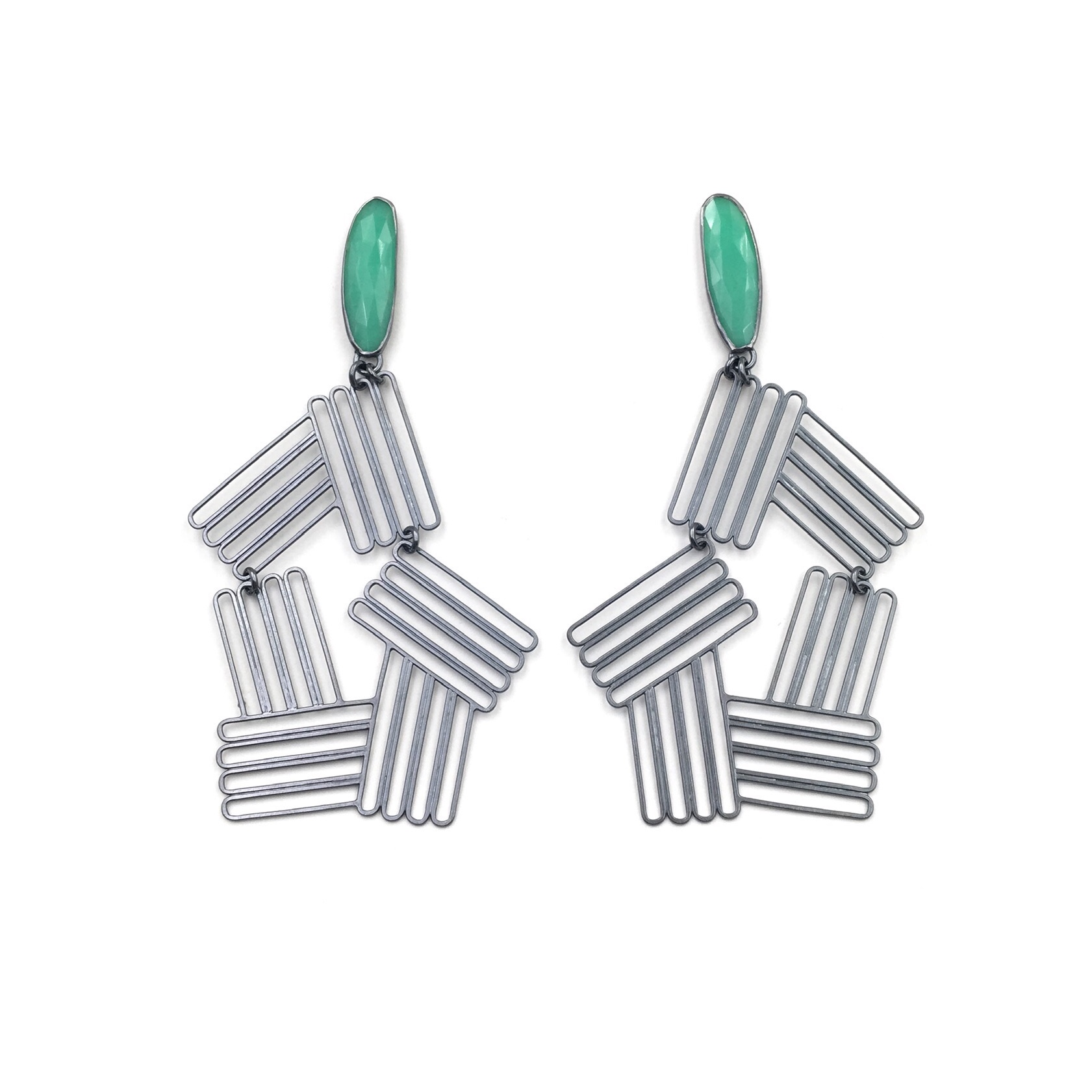 CHRYSOPRASE INTERSECTING STACK EARRINGS  Oxidized sterling silver, rose-cut chrysoprase