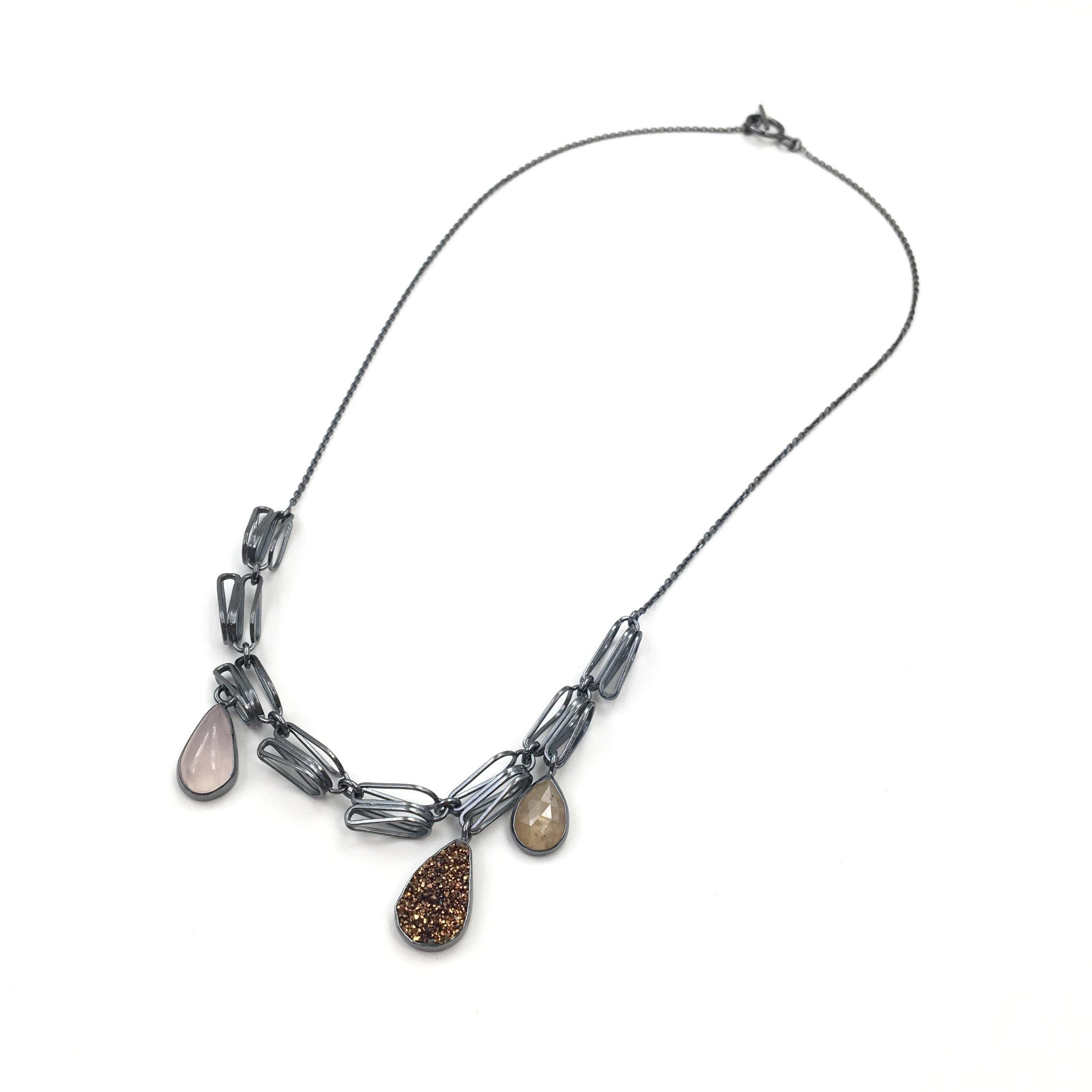 TEARDROP NECKLACE  Oxidized sterling silver, rose quartz, copper druzy, rose-cut sapphire