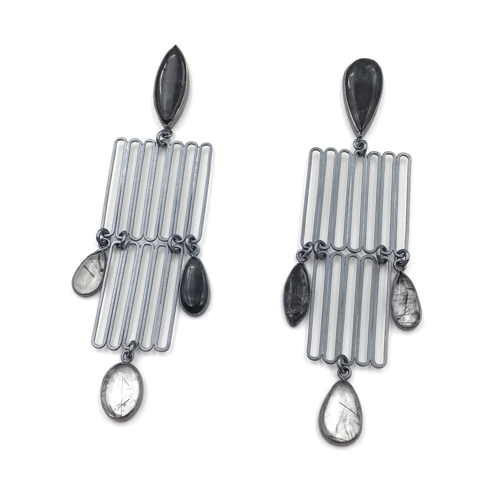 QUAD QUARTZ STACK EARRINGS  Oxidized sterling silver, rutilated quartz