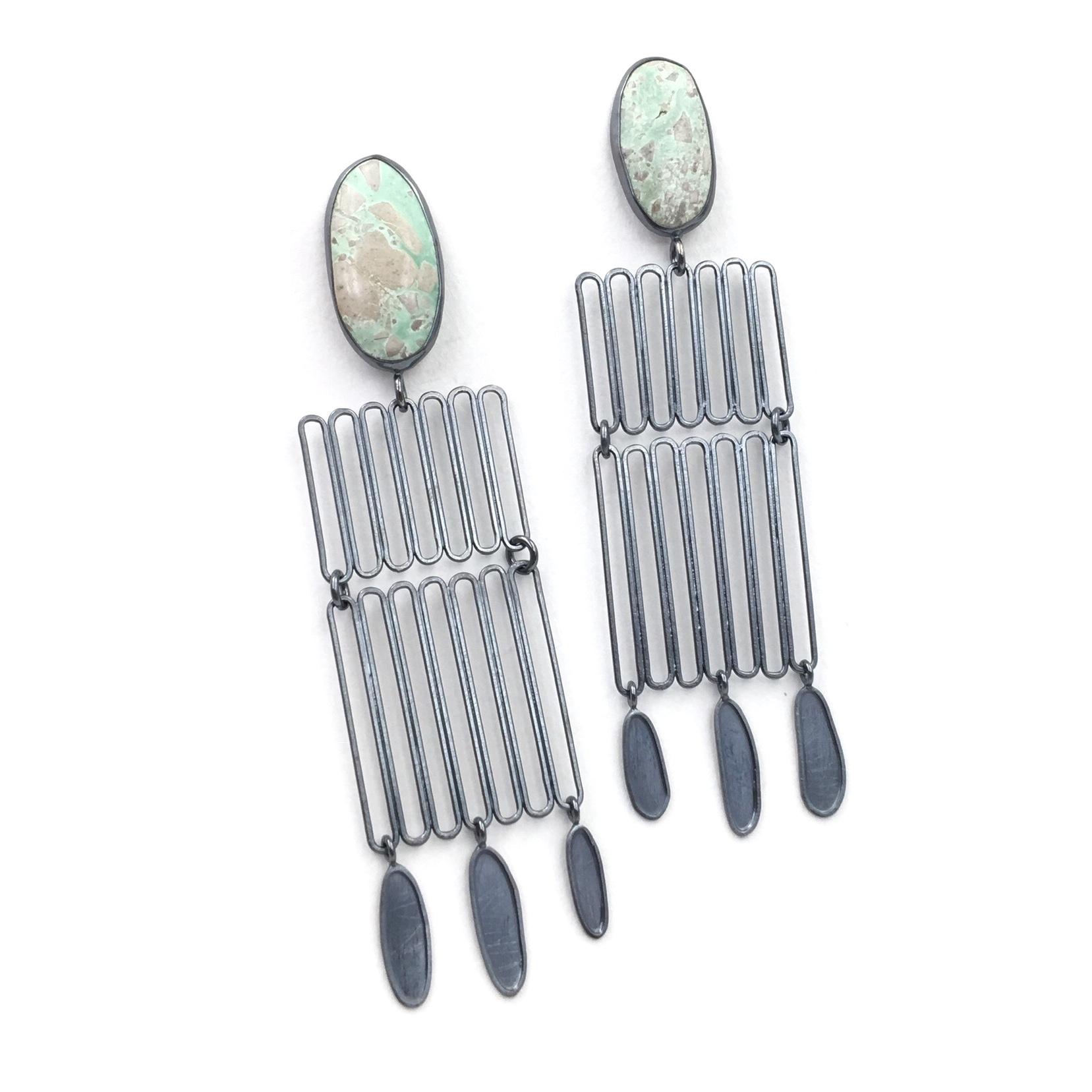 VARISCITE STACK EARRINGS  Oxidized sterling silver, variscite