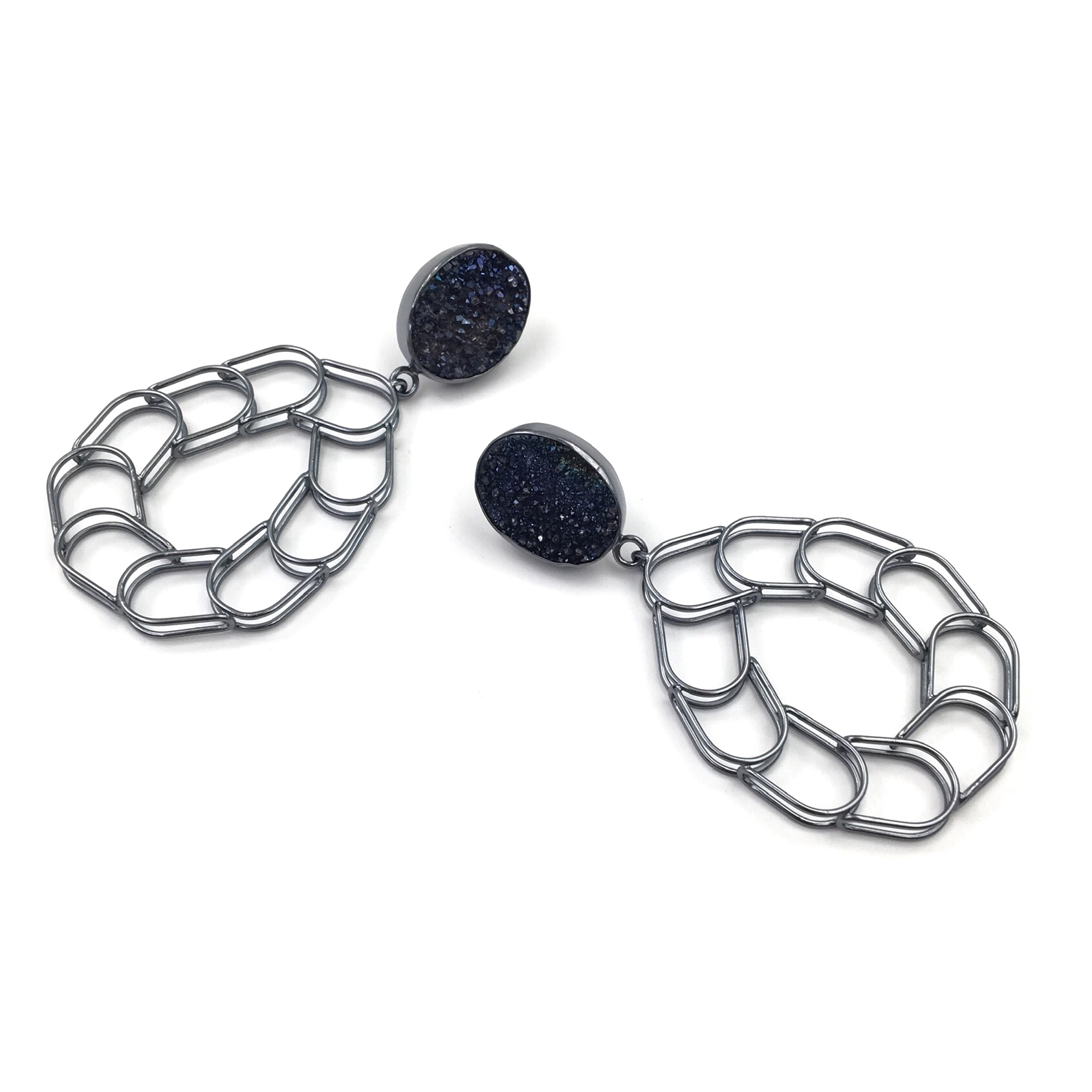 BENT LINK DRUZY DROP EARRINGS  Oxidized sterling silver, dark blue druzy