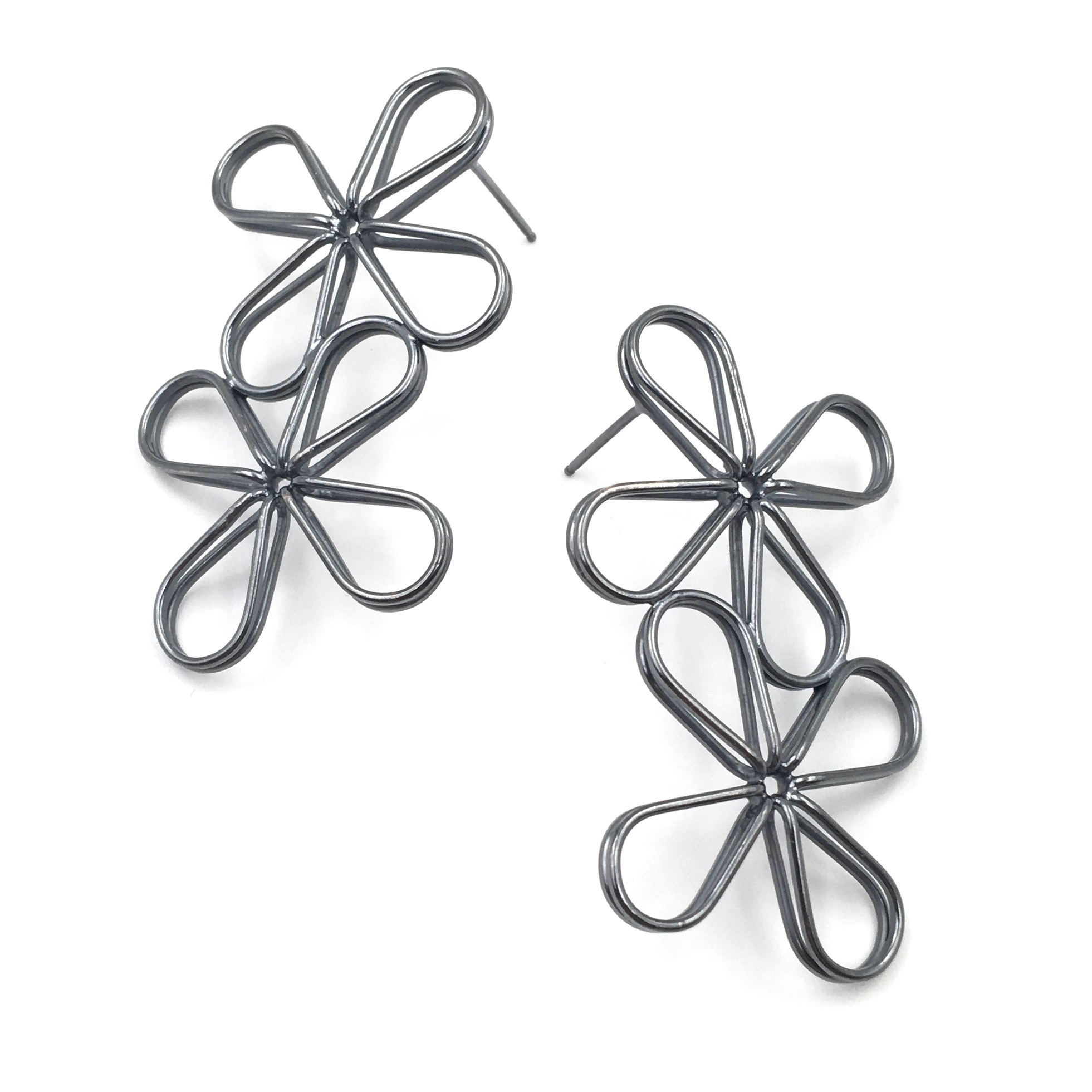 DOUBLE FLORAL EARRINGS  Oxidized sterling silver