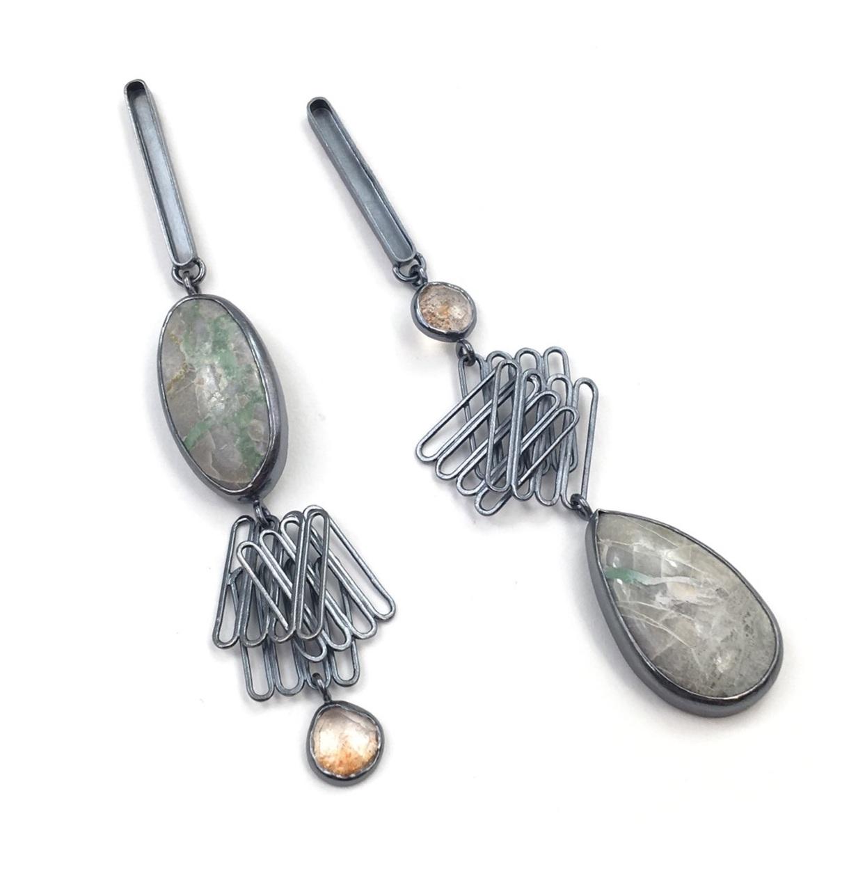 QUAD STACK EARRINGS  Oxidized sterling silver, variscite, sunstone