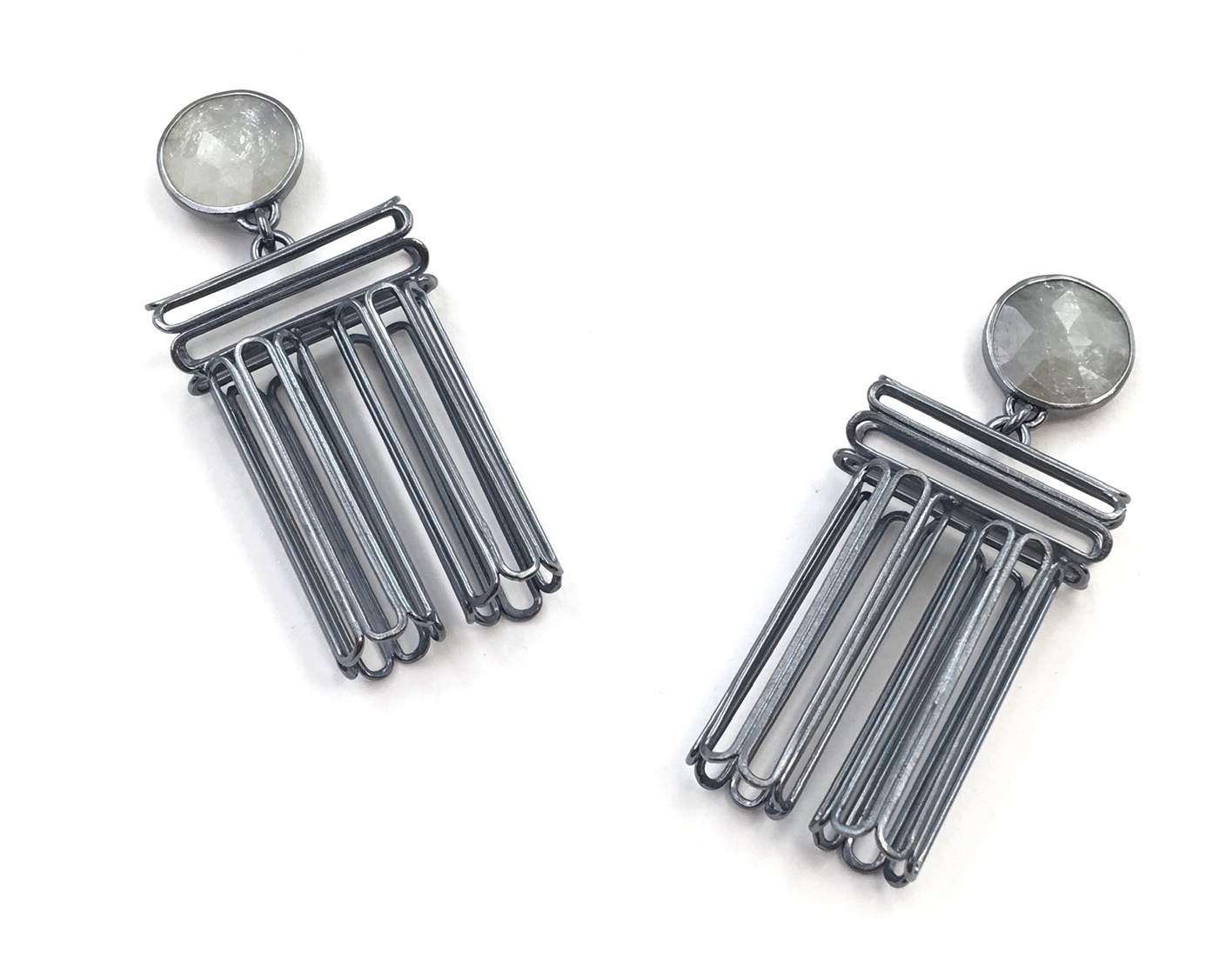CYLINDRICAL SAPPHIRE STACK EARRINGS  Oxidized sterling silver, rose-cut sapphire