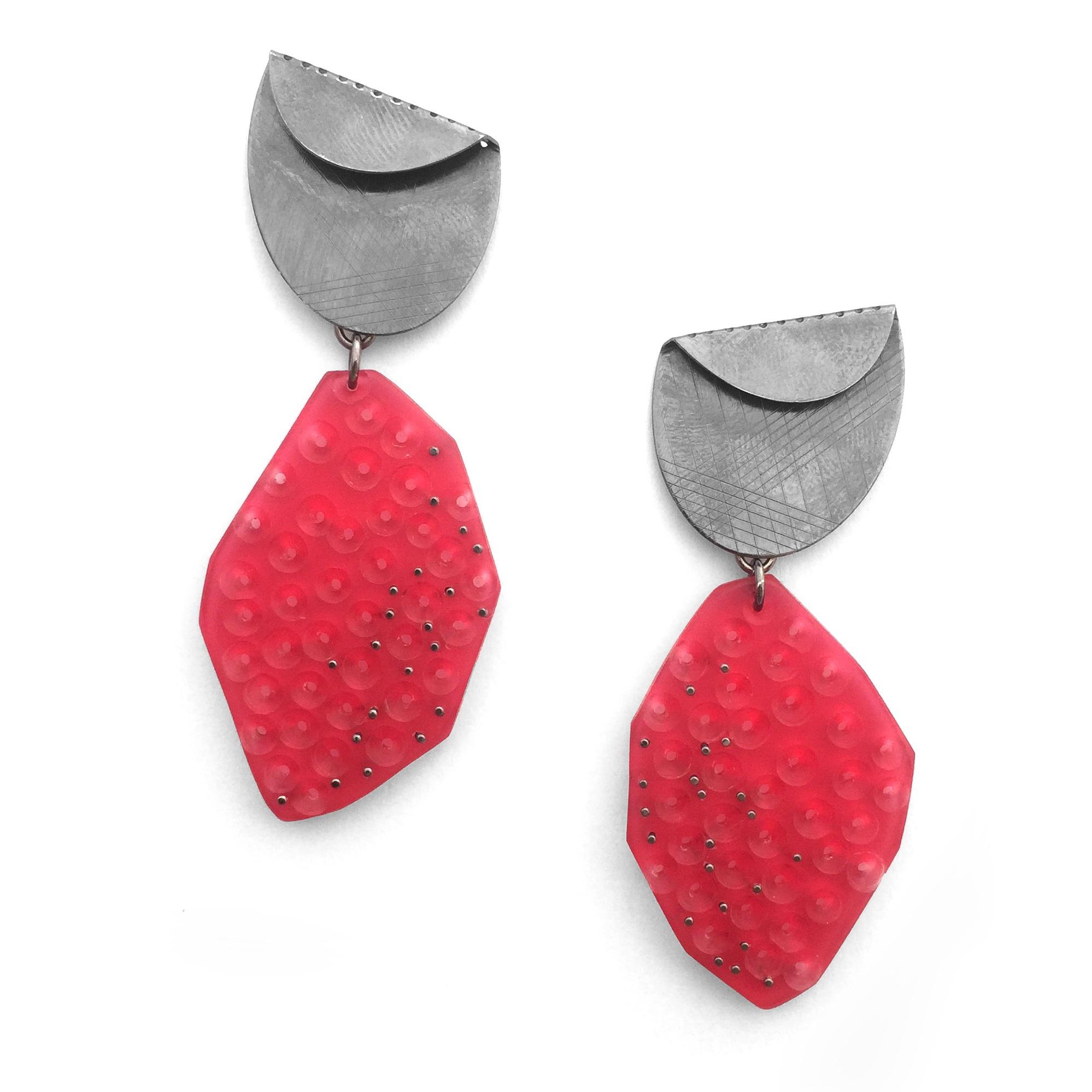 Raspberry Drops  , Oxidized silver, acrylic