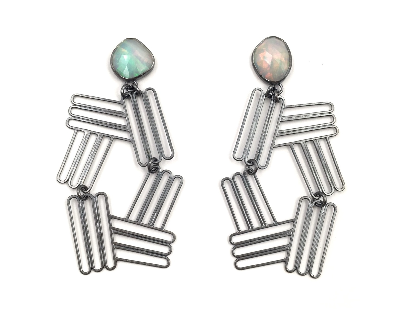 OPAL INTERSECTING STACK EARRINGS  Oxidized sterling silver, rose-cut opal