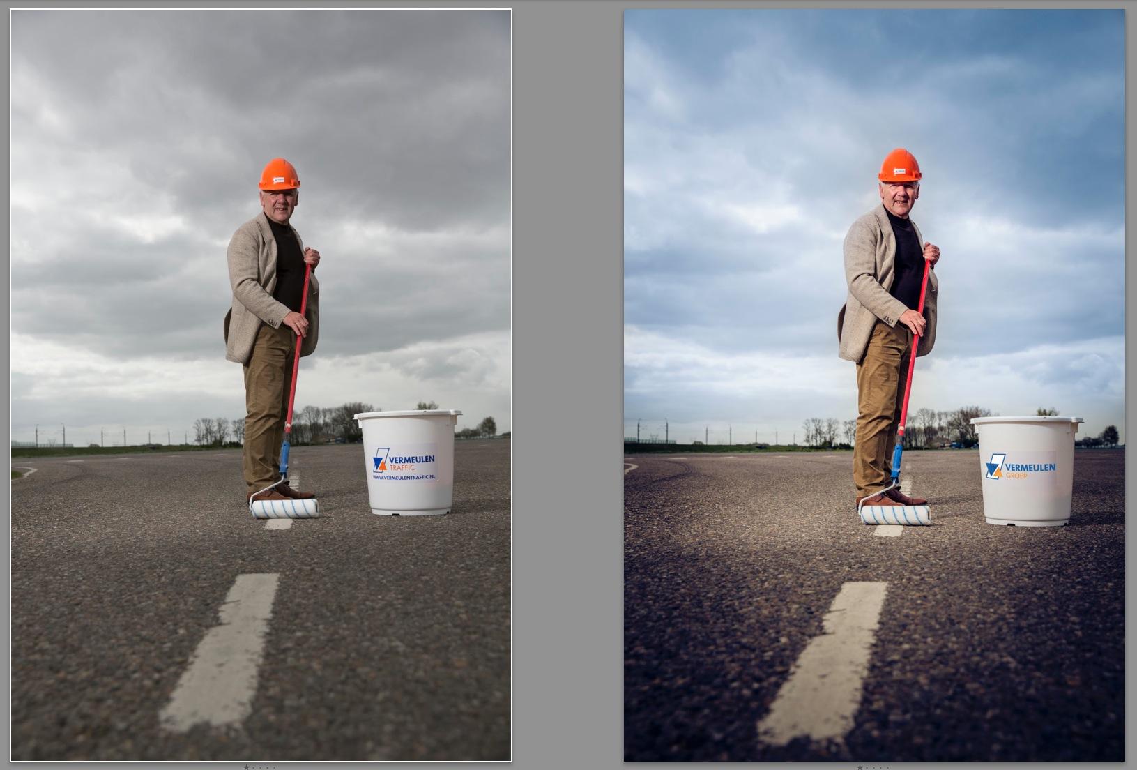 Hier even de bewerkingen op de foto. Links het origineel uit de camera. Rechts de aangepaste versie. Zoals je ziet is hij wat rechter gezet, iets beter uitgelicht en de lucht iets vrolijker gemaakt. Ook de sticker op de emmer is aangepast naar het juiste logo.