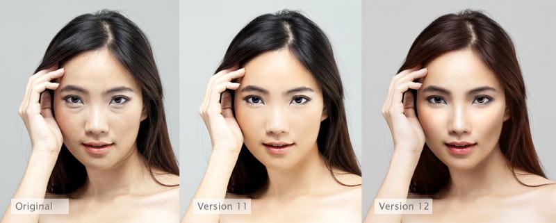 Hier het verschil tussen de verschillende versies van Portrait Professional. Je ziet dat in de laatste versie 12 er veel achter de schermen is aangepast om een veel mooier resultaat te krijgen.