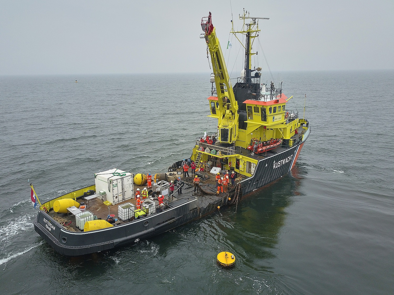 De eerste oogst van de Noordzee Boerderij met de Royal IHC harvest machine