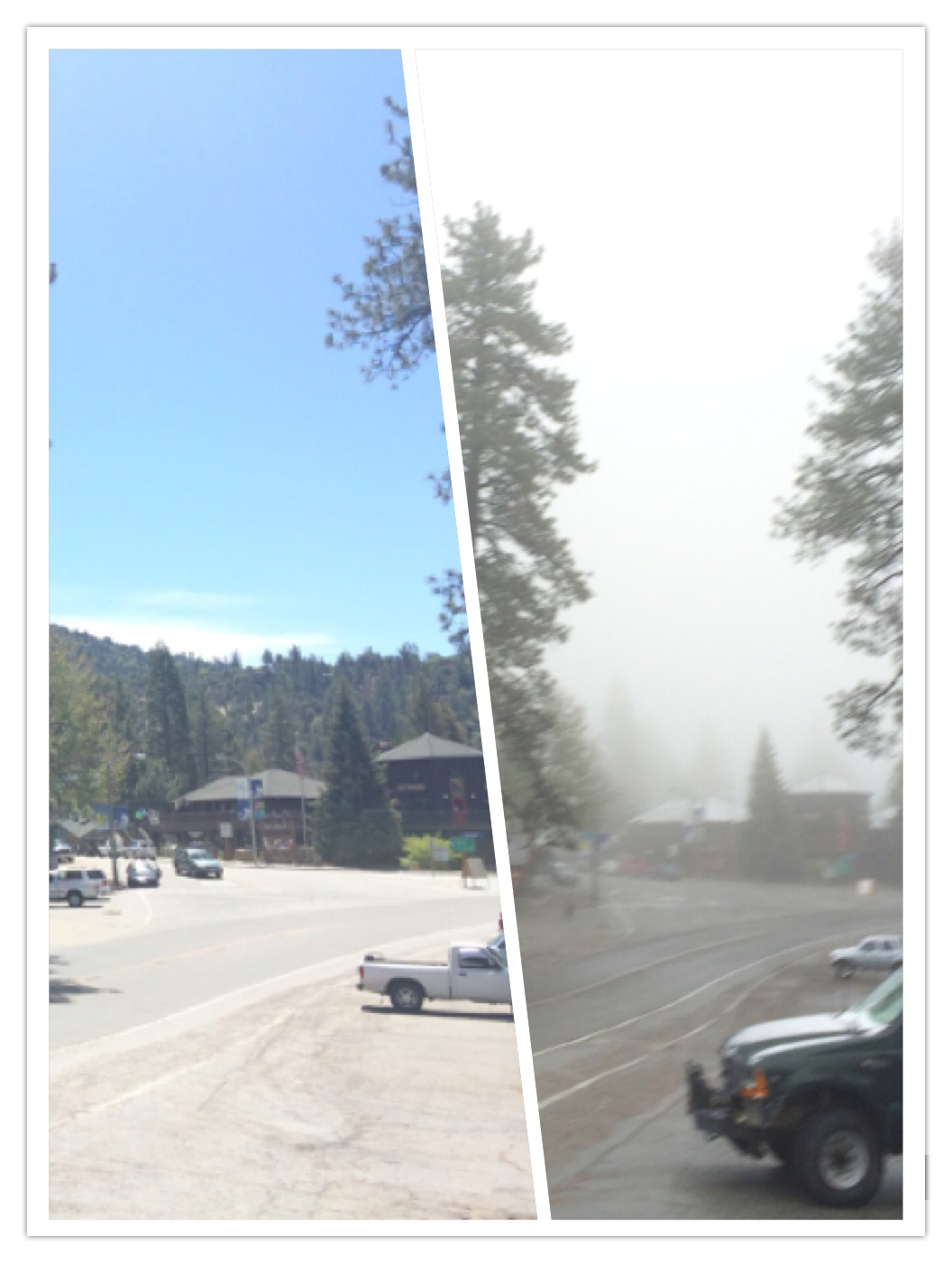 Highlighting the difference a day can make for mountain weather.