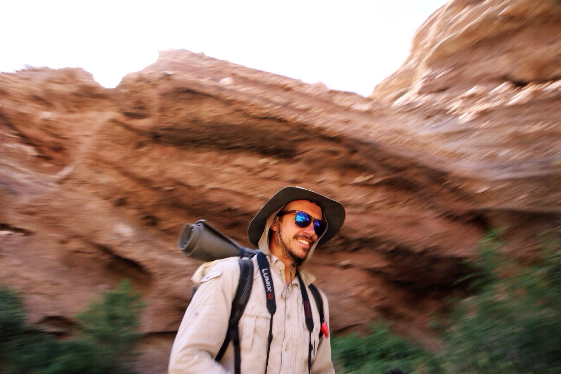 Vasquez Rocks. Half'n'Half was all smiles walking through this place.