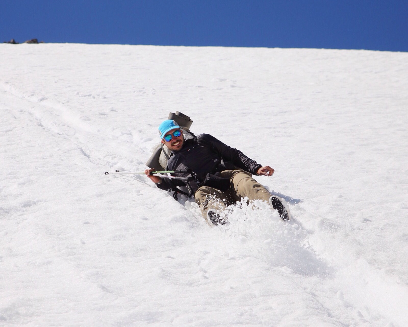 Sometimes you glissade down and skip a bunch of switchbacks. Glissading can be very fun, but it is not without its dangers.