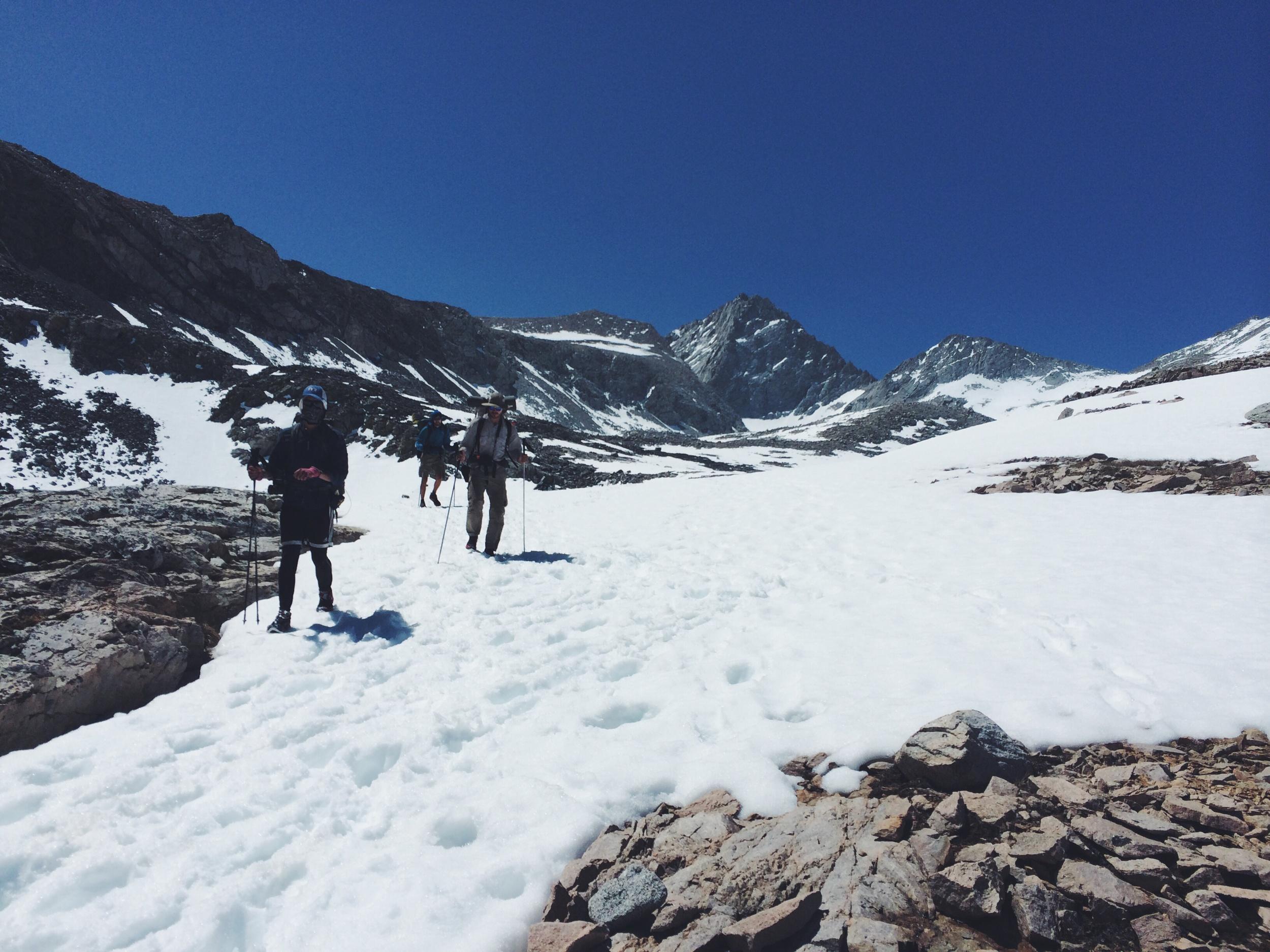 Pedi, Quinoa and Half and Half descend the snow field.