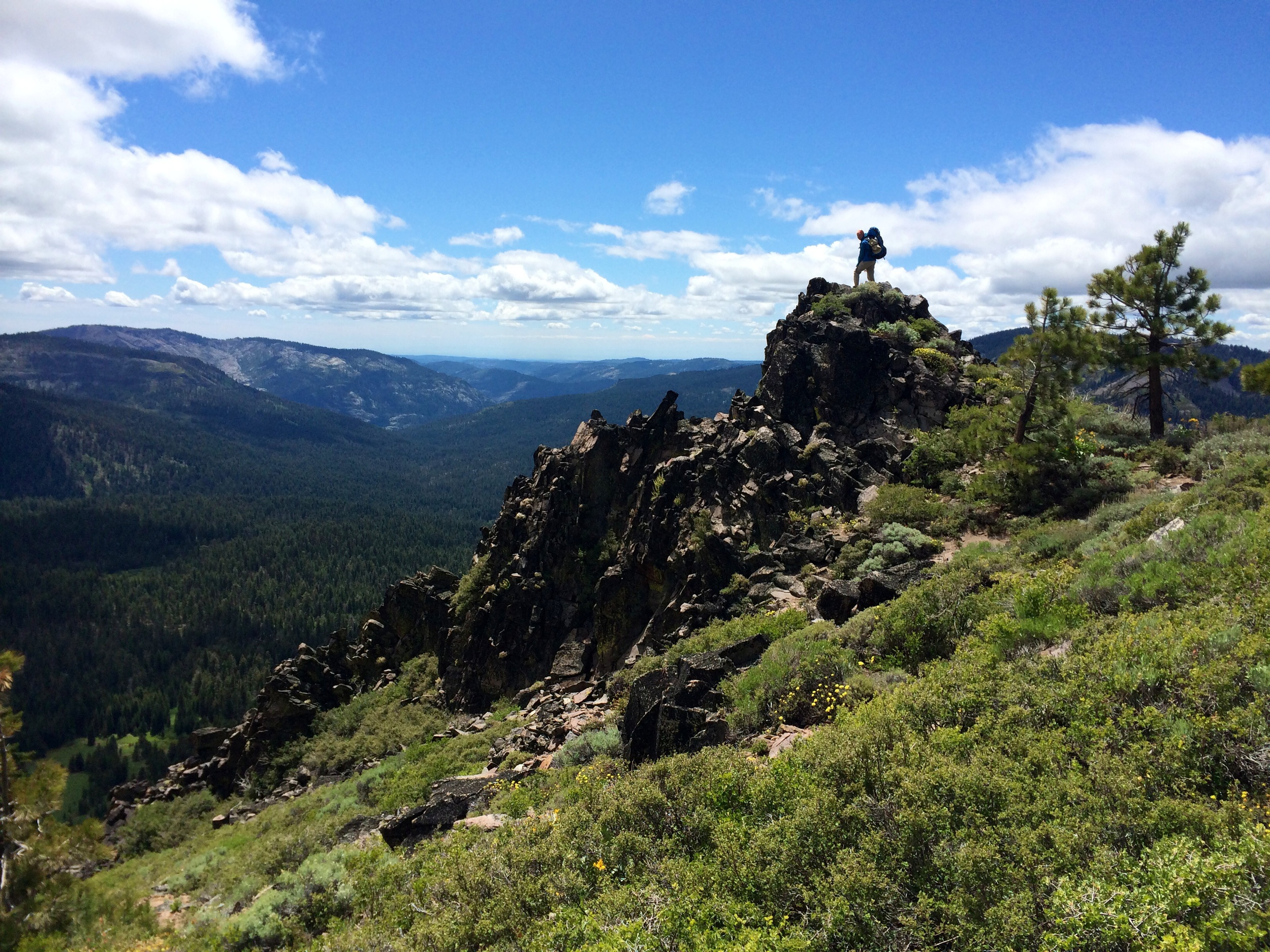 Joanna being brave on volcanic rocks