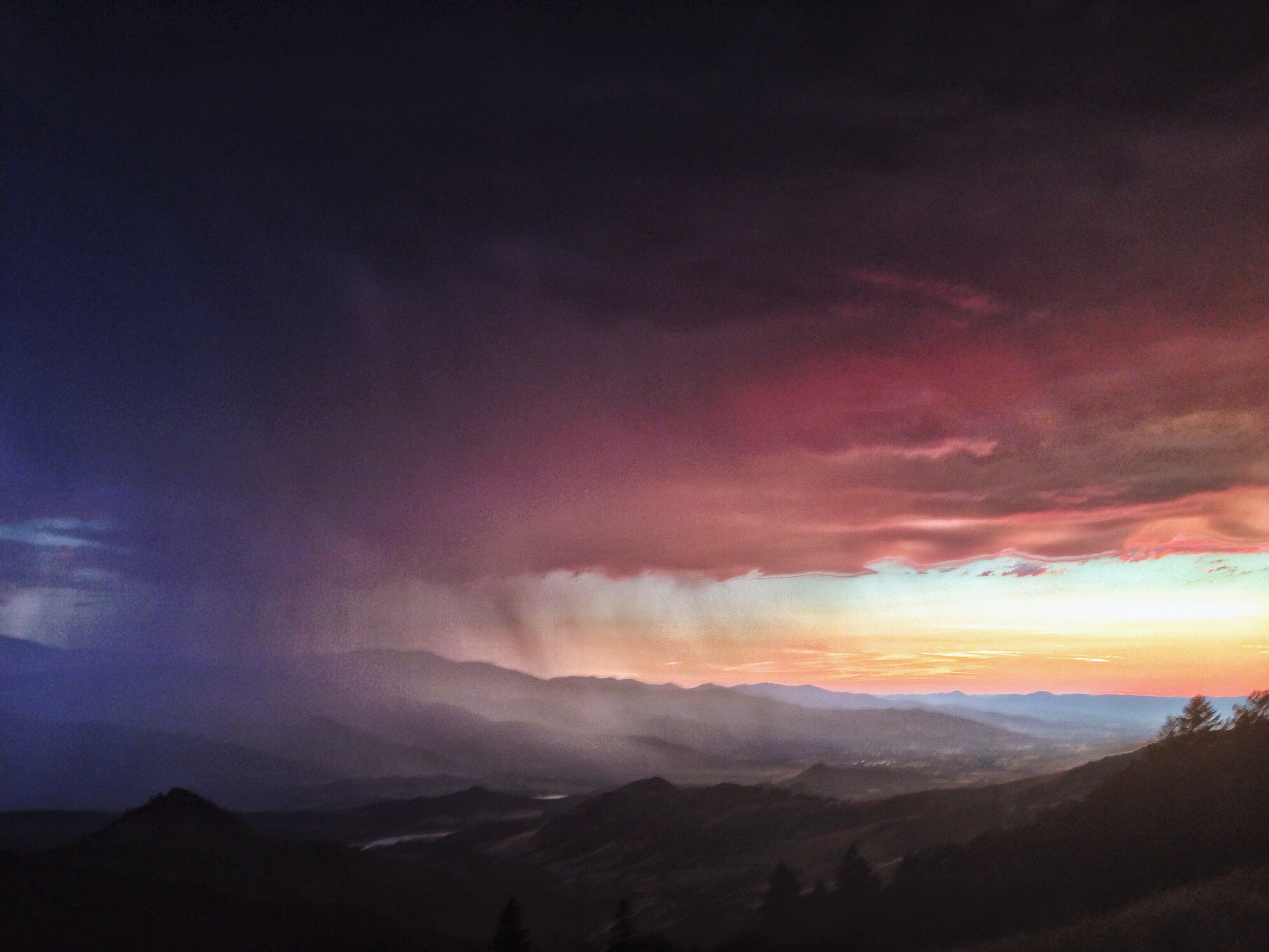 Thunderstorm at sunset.