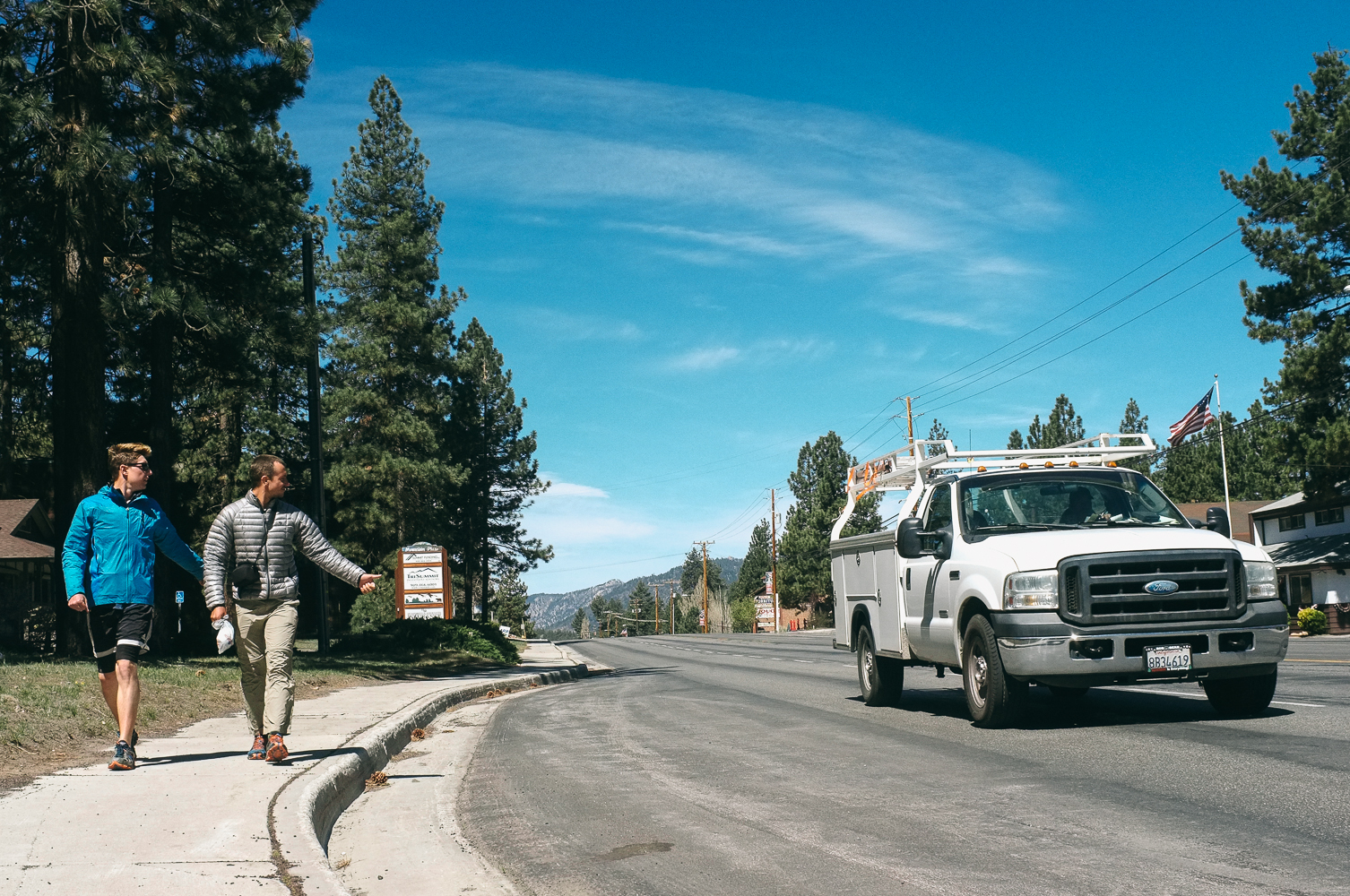 Myself and Half'n'Half trying to walk and hitch a ride in Big Bear City, CA
