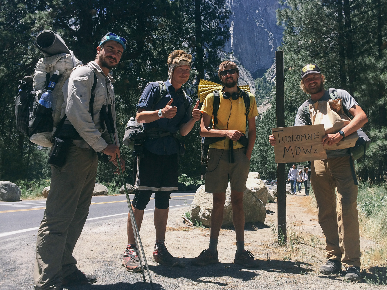 Half'n'Half, myself, Quinoa and Choop hitching back up to Tuolomne Meadows from Yosemite Valley.