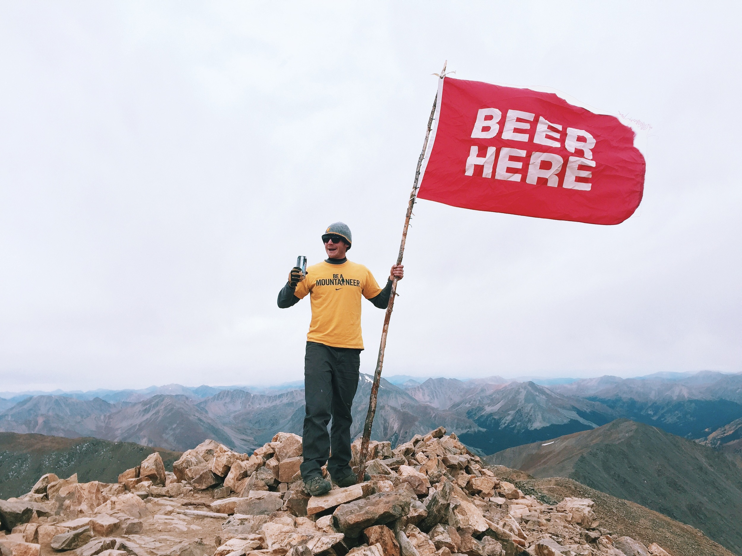 Man and Beer met on the summit of Mt. Elbert