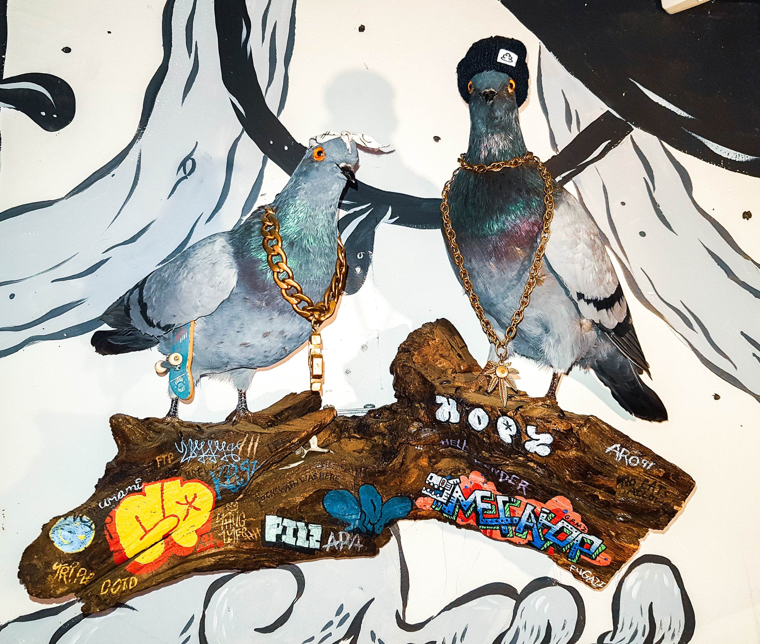 Some blinged out pigeons throwin down at Garage Project
