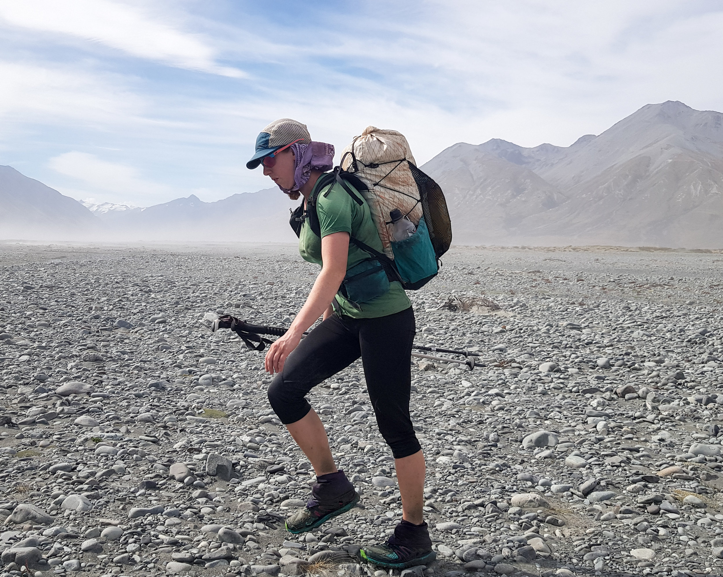 Traversing the Rangitata moonscape in gale force winds.  photo/ Jonathan