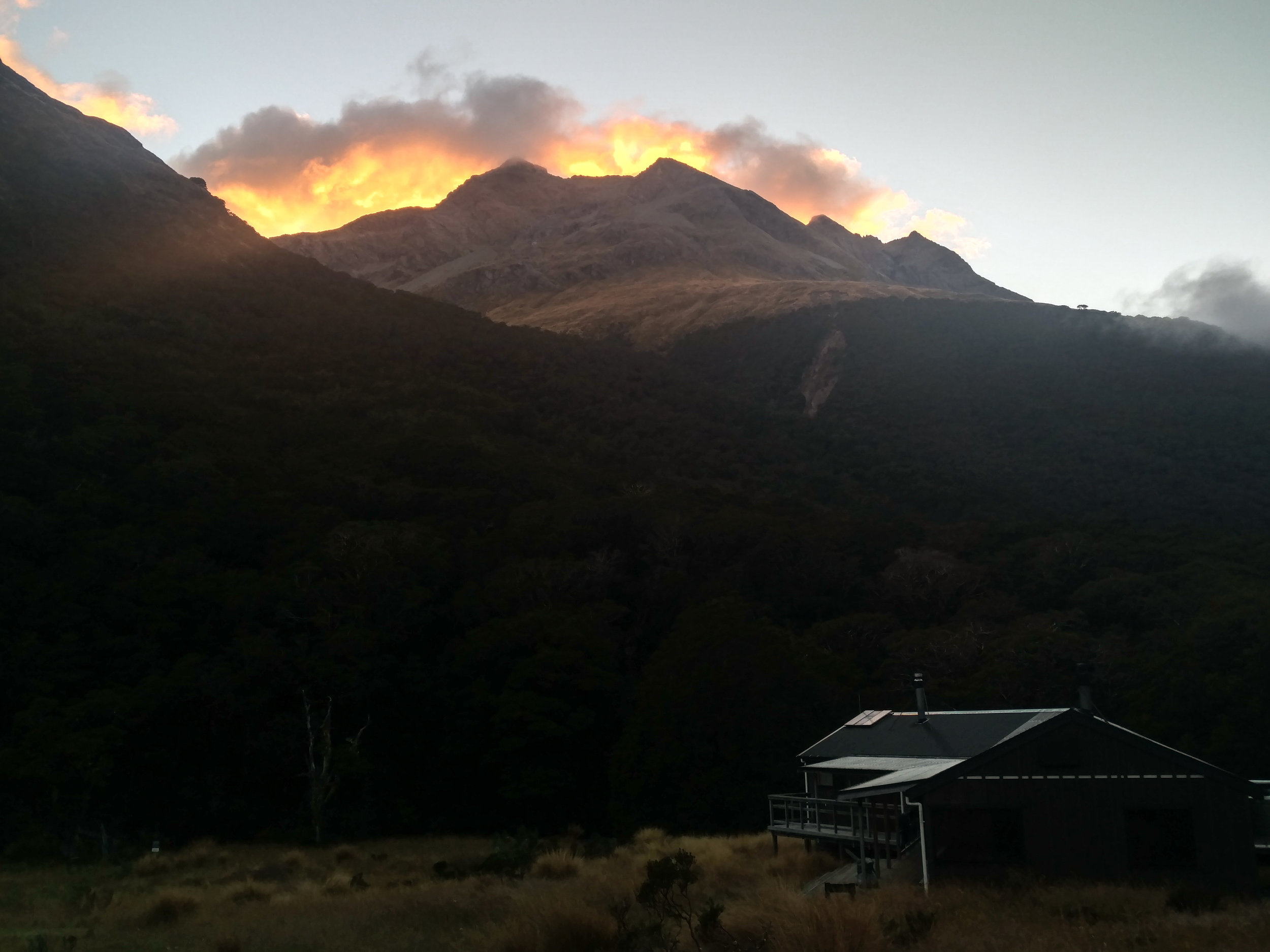 McKellar hut was a welcome sight as dusk approached.  photo/ Molly