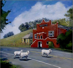 Iconic painting of the Tomales Town Hall by local artist Kathryn LeMieux