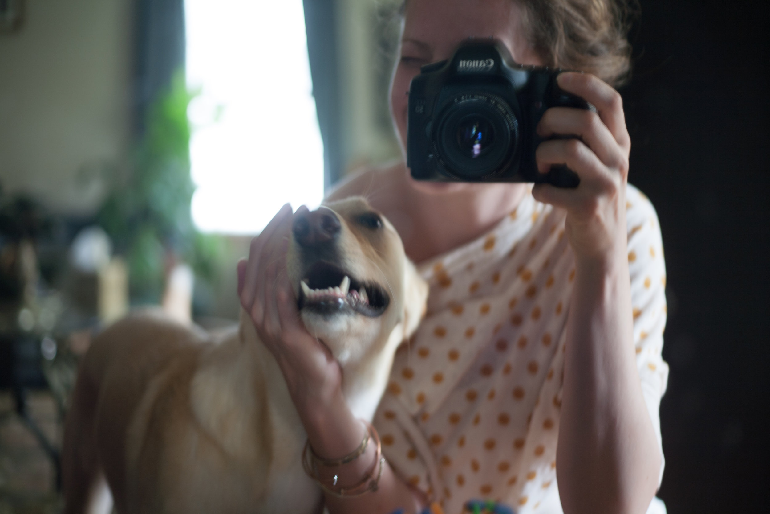 Me and my sweet dog (in a mirror); November 2016