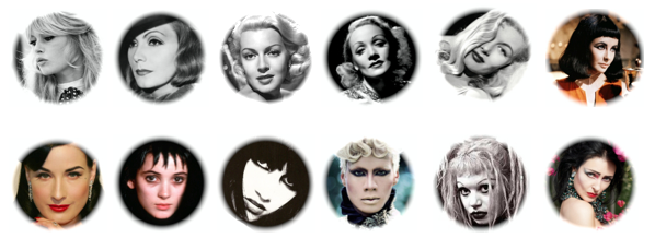 These faces have inspired my personal style and are my beauty icons.      From top left : Brigitte Bardot, Greta Garbo, Lana Turner, Marlene Dietrich, Veronica Lake, Elizabeth Taylor (as Cleopatra), Dita Von Teese, Winona Ryder (as Lydia Deetz), Lydia Lunch, Raja Gemini, Tina Root, and Siouxsie Sioux.