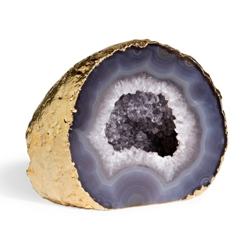 Grey Agate Geode showing the colors associated with Virgo.