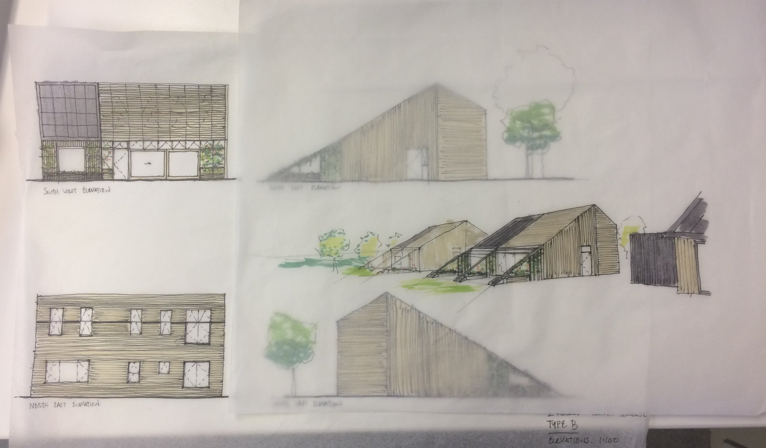 Concept sketches of the proposed homes