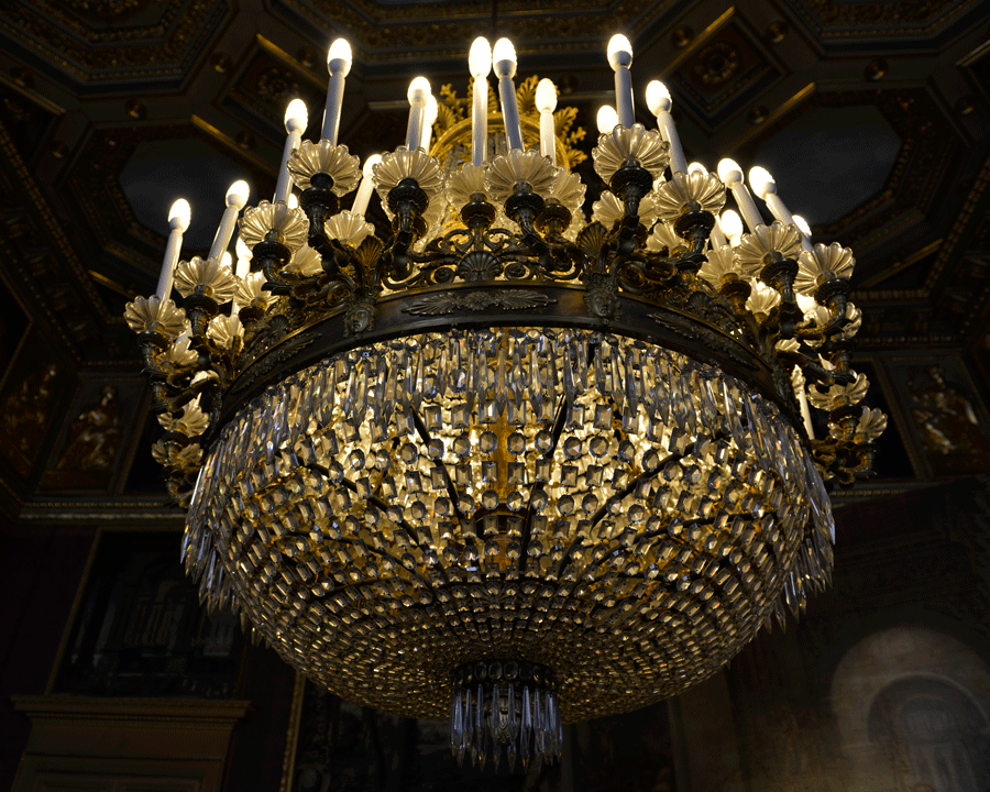 'Palace Chandelier' © Naida Ginnane 2012 Nikon D800, 24-70mm lens f/4.0, 1/40, ISO200  Another shot demonstrating how a slow shutter speed can be compensated with a faster ISO speed.