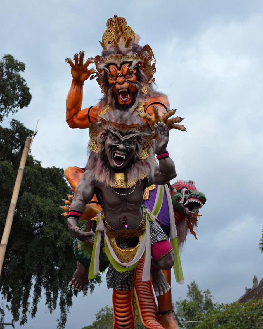 'Nyepi' © 2012 Naida Ginnane, Nikon D800 f/ 6.3, 1/160, ISO 3200. The Balinese Nyepi tradition uses large paper mache sculptures designed to look as scary as possible. They are carried throughout the town in order to frighten evil spirits away.