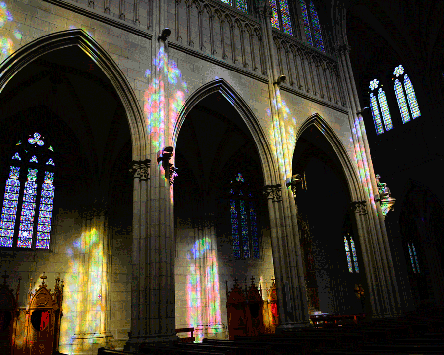 'Glass Light' © Naida Ginnane 2016 Nikon D800 24-70mm lens,1/125, f/2.8, ISO 400. These beautiful coloured reflections are only possible to shoot inside this cathedral at the right time of day.
