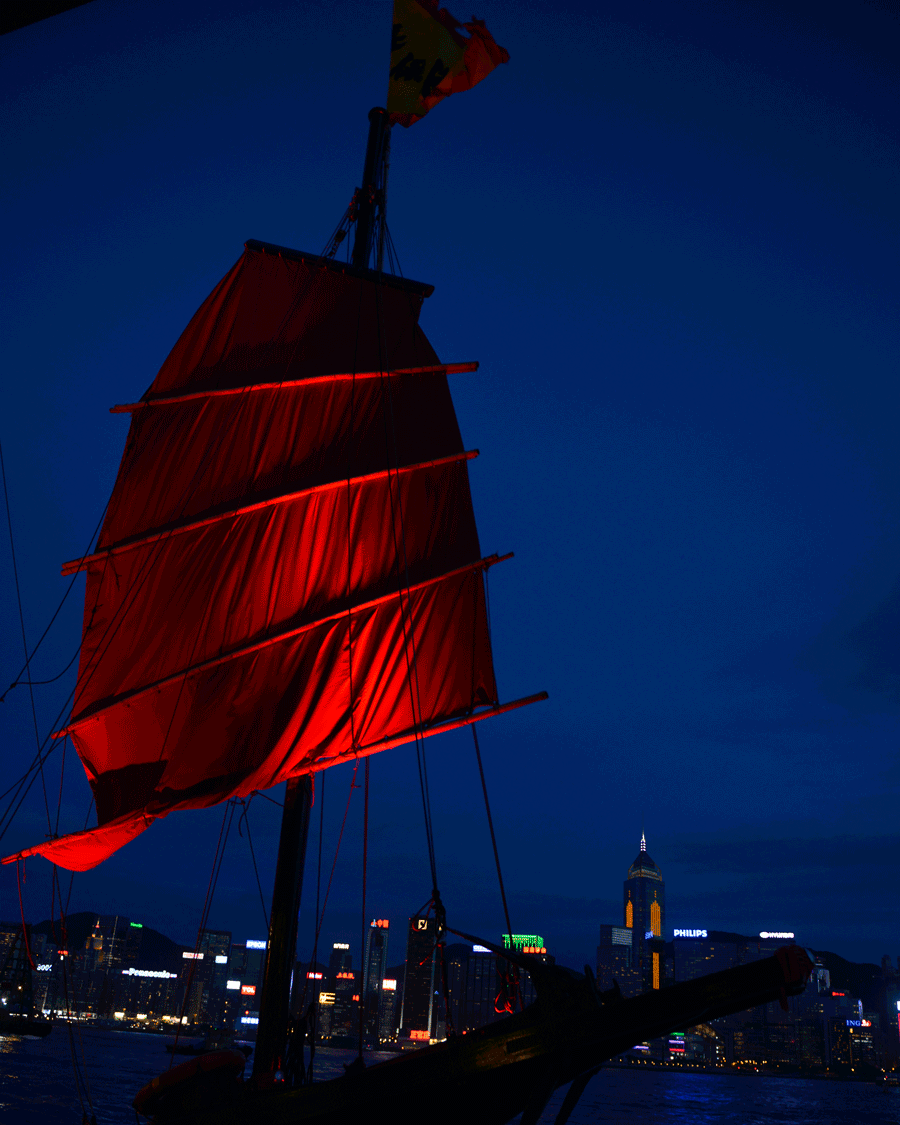 'Red Sail' © Naida Ginnane 2015 Nikon D800 24-70mm lens, 1/50, f/9.0, ISO 400. The focal point in this image is on the lower panel of the sail because the red is brightest there contrasting greatly with the blue background.