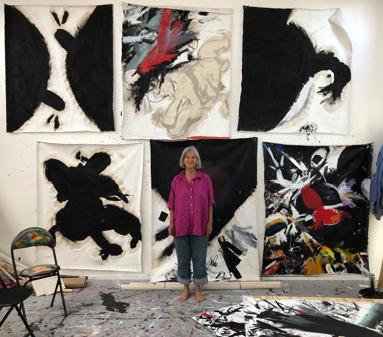 Exhibit artist Greta Young, in her studio.