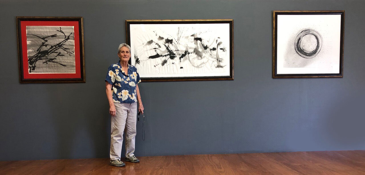 Barbara Riley during the hanging of her exhibit.