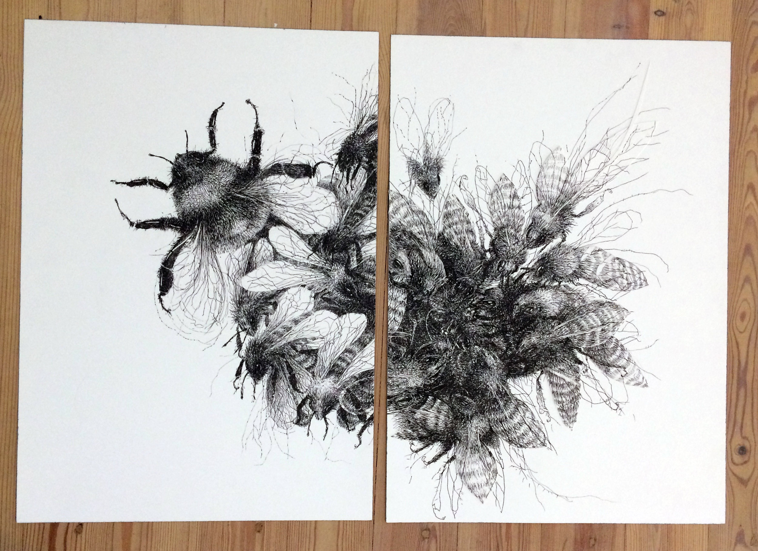 I draw several drawings of bees (this one with one bumblebee also) last year and just suddenly realised they all have new home's now and I can't show them in a show anymore, which was my original plan. I guess it's a good thing, but yeah...well, I do have some bad photos of them.