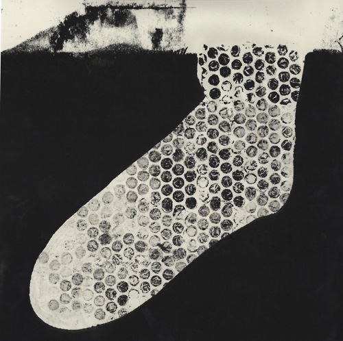Monoprint with Sock and Bubble Wrap, 2011