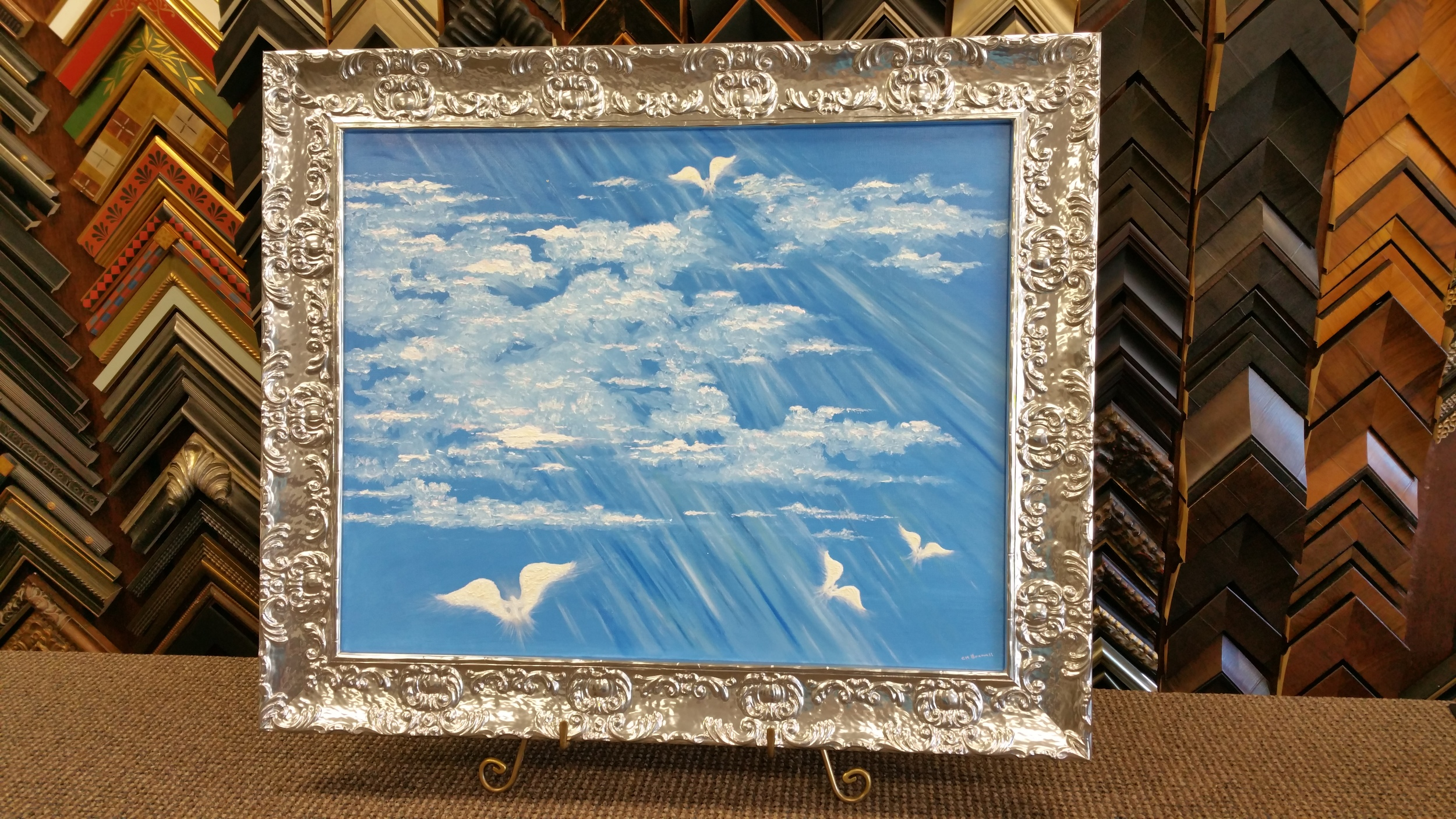 A beautiful painting by one of our customers Claiborne Braswell. It is framed in an elegant Roma Lavo frame.