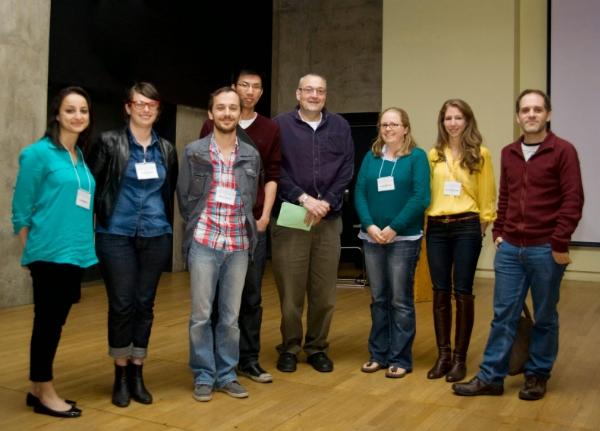 Gagnants des prix, Premier congrès de la SCC, Toronto, 2013. De gauche à droite: Jade Atallah, Erin Fortier, Marc Cuesta, Harrod Ling, Joel Levine (Président), Anne Grundy, Sherin Al-Safadi, Nicolas Cermakian (Vice-présdient; Président de la SCC).