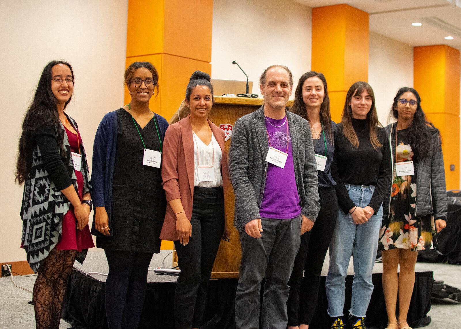 Trainee Merit awardees. From left to right: Hannah de los Santos, Rackeb Tesfaye, Priya Mistry, Nicolas Cermakian, Cristine Reitz, Claire Gizowski, Kathyani Parasram.