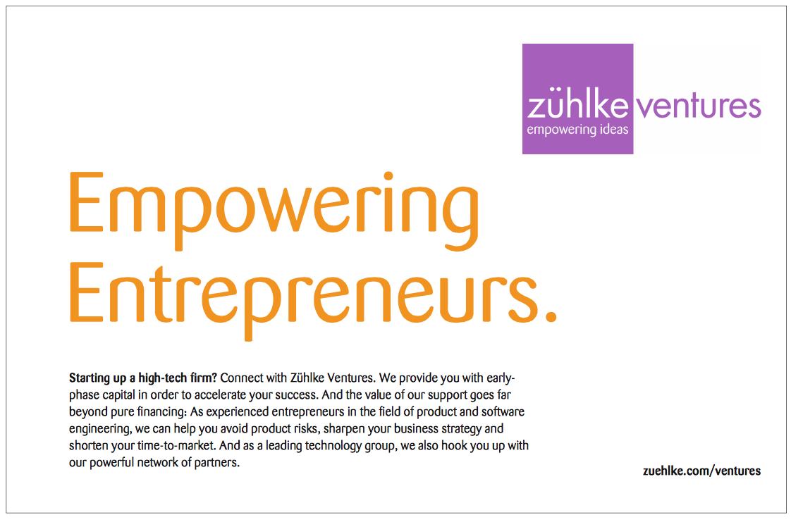 Englische Anzeige für Unternehmensgründer