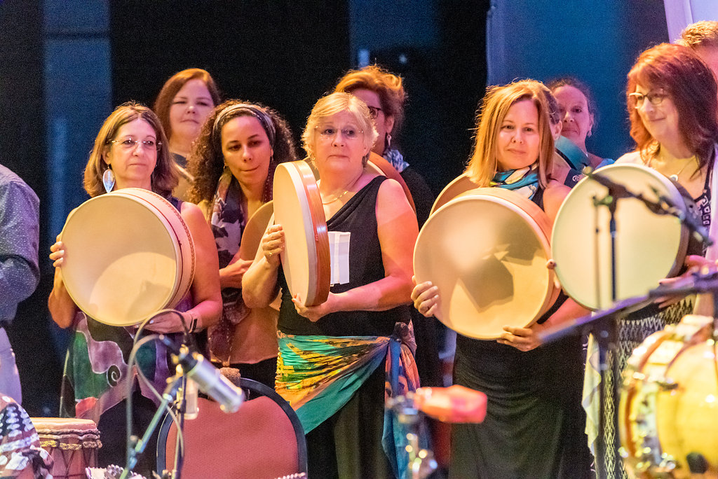 Participants from the Advanced Track of the Intensive Program, in the finale piece of the Masters of Percussion Concert