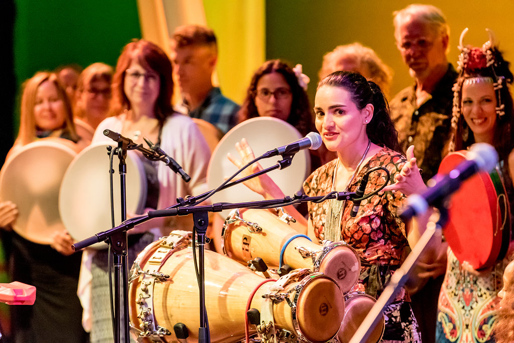 Lisette Santiago on all three Batá drums, accompanied by the full lineup of guest artists and a chorus of students from the Advanced Track of the Intensive Program