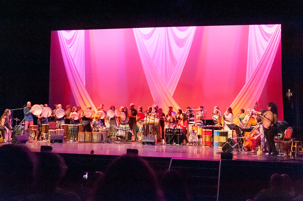 The full ensemble of all featured artists along with participants from the Advanced Track of the Intensive Program for Asheville Percussion Festival 2018, performing together in the finale piece