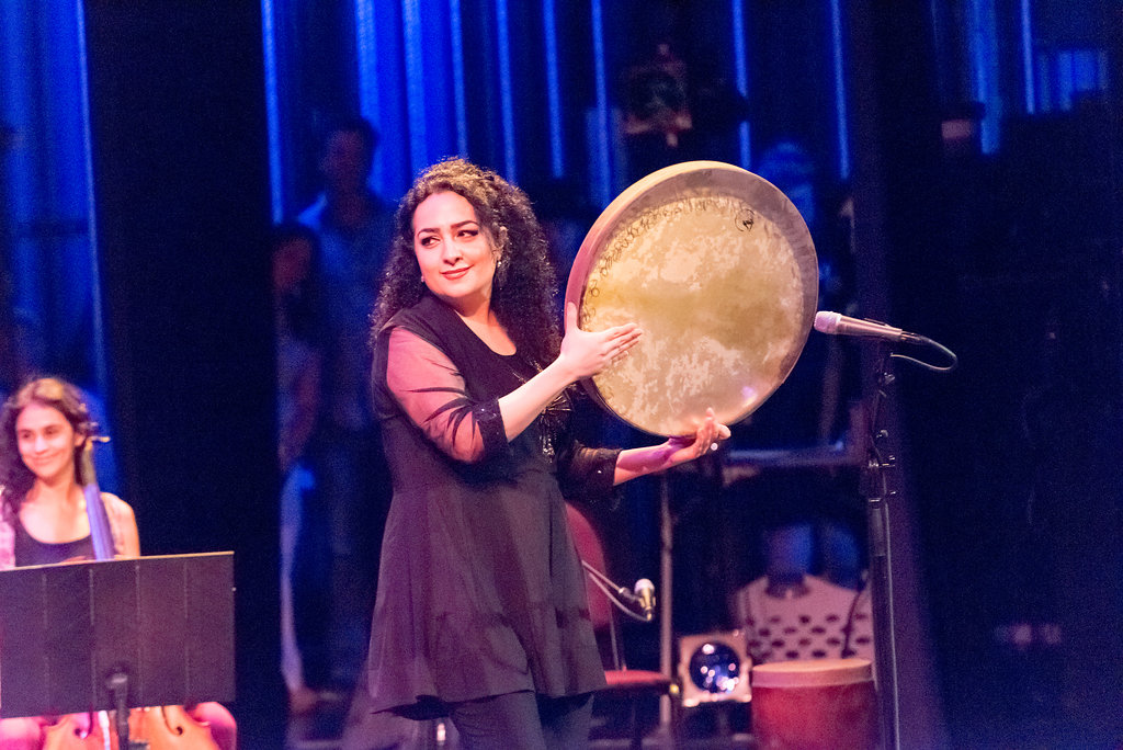 "Naghmeh Farahmand performing her original composition, ""Inquiry,"" on Iranian daf"