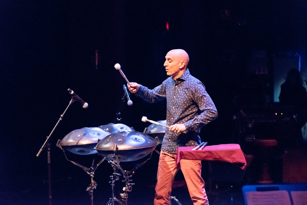 "River Guerguerian performing his original composition, ""The Woman in Me,"" on Saraz Handpans"