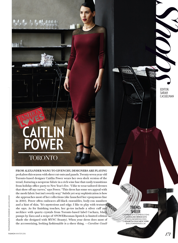 CAITLIN POWER wears size 4